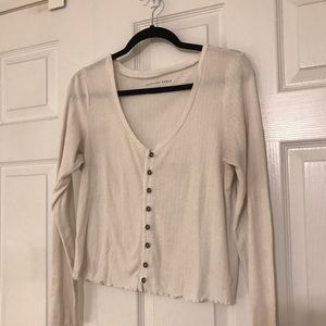 American Eagle Outfitters Tops - Cream Button-up American Eagle Long Sleeve